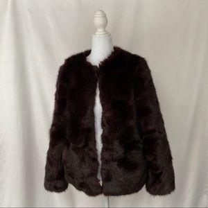 High quality faux fur burgundy maroon coat